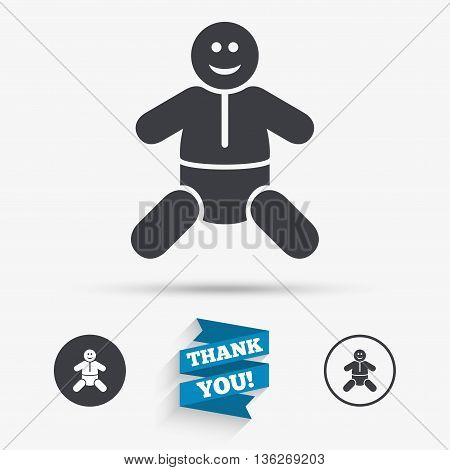 Baby infant sign icon. Toddler boy with diapers symbol. Child WC toilet. Flat icons. Buttons with icons. Thank you ribbon. Vector