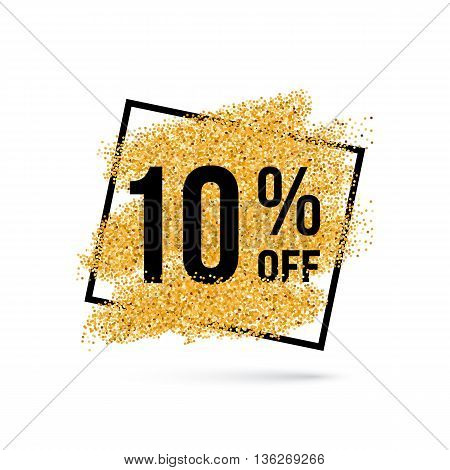 Gold Discount Background for Sale Sign with Ten Percent