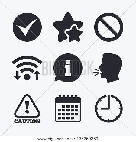 Information icons. Stop prohibition and attention caution signs. Approved check mark symbol. Wifi internet, favorite stars, calendar and clock. Talking head. Vector
