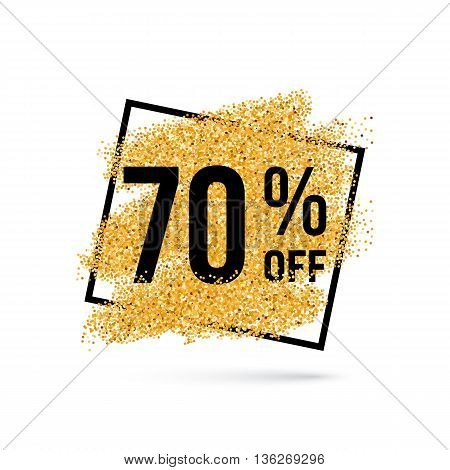 Gold Discount Background for Sale Sign with Seventy Percent