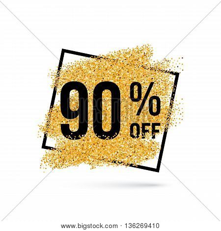Gold Discount Background for Sale Sign with Ninety Percent
