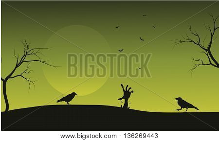 Halloween crow and hand zombie silhouette illustration