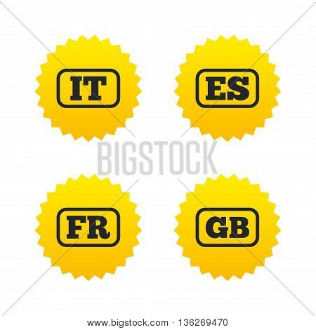 Language icons. IT, ES, FR and GB translation symbols. Italy, Spain, France and England languages. Yellow stars labels with flat icons. Vector