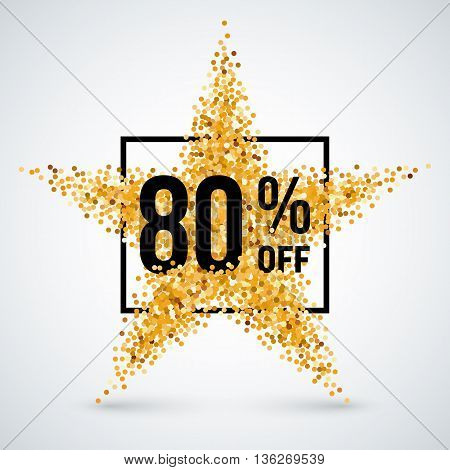 Golden Star and Frame with Discount Eighty Percent