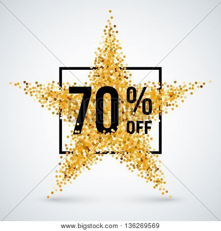 Golden Star and Frame with Discount Seventy Percent