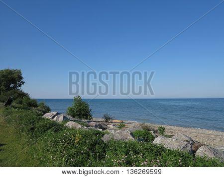Beach area near Wind Point Lighthouse in the Racine, Wisconsin area