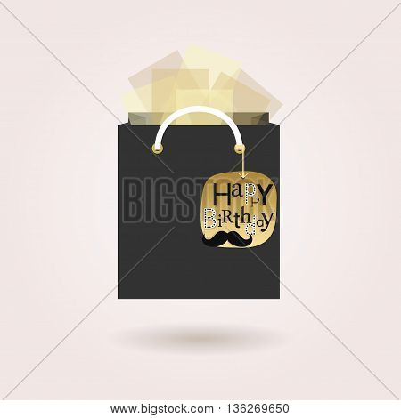 Black abstract gift bag and tissue papers with hanging golden happy birthday tag icon