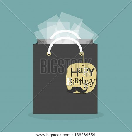 Black abstract gift bag and tissue papers with yellow hanging happy birthday tag icon
