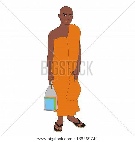Illustration Buddhist monk student wearing an orange robe in Thailand isolated on white background