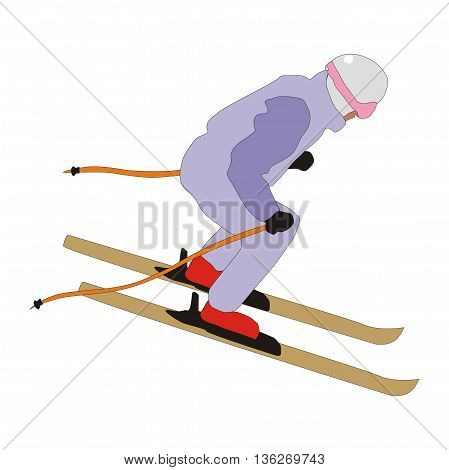 Illustration skier skiing down a mountain slope isolated on white background