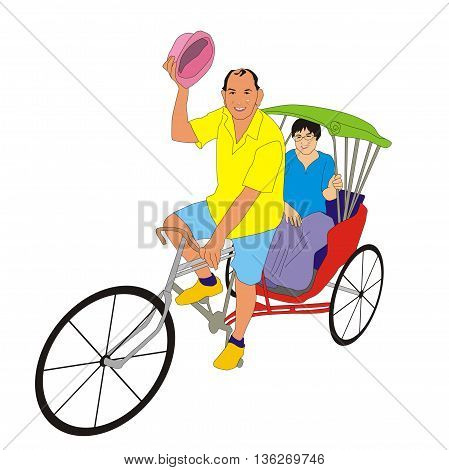 Illustration cheerful rickshaw driver carries a passenger on a sightseeing tour