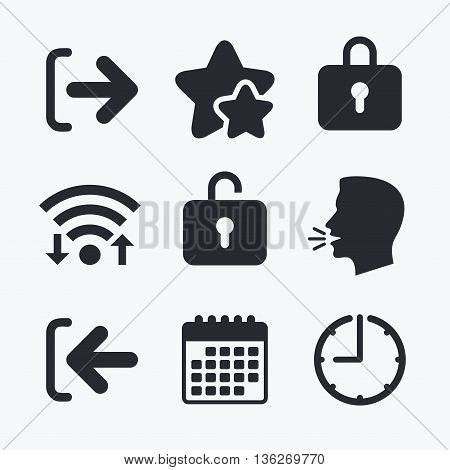 Login and Logout icons. Sign in or Sign out symbols. Lock icon. Wifi internet, favorite stars, calendar and clock. Talking head. Vector