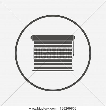 Louvers sign icon. Window blinds or jalousie. Flat louvers icon. Simple design louvers symbol. Louvers graphic element. Round button with flat louvers icon. Vector