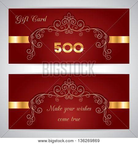 Vector illustration with calligraphy frame in retro style. Gift card voucher certificate or discount card template