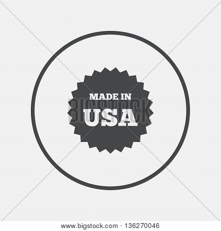 Made in the USA icon. Export production symbol. Product created in America sign. Round button with flat icon. Vector