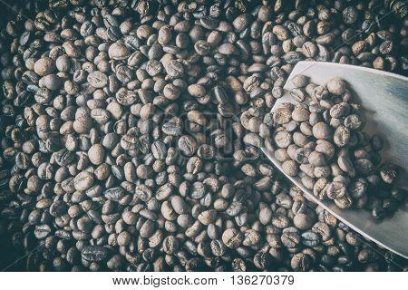 Traditional roasting coffee beans. Medium roasted coffee beans.