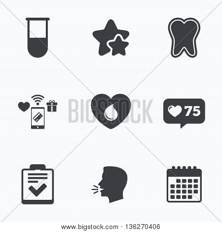 Medical icons. Tooth, test tube, blood donation and checklist signs. Laboratory equipment symbol. Dental care. Flat talking head, calendar icons. Stars, like counter icons. Vector