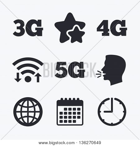 Mobile telecommunications icons. 3G, 4G and 5G technology symbols. World globe sign. Wifi internet, favorite stars, calendar and clock. Talking head. Vector