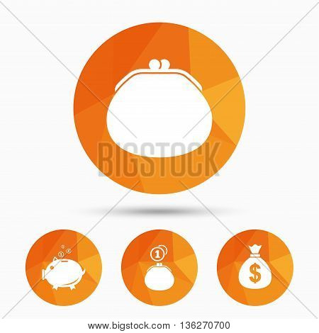 Wallet with cash coin and piggy bank moneybox symbols. Dollar USD currency sign. Triangular low poly buttons with shadow. Vector
