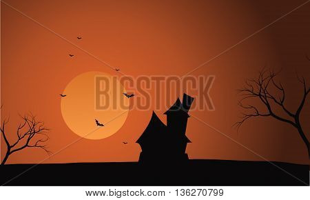 At afternoon Halloween castle scenery with moon backgrounds
