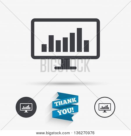 Computer monitor sign icon. Market monitoring. Flat icons. Buttons with icons. Thank you ribbon. Vector