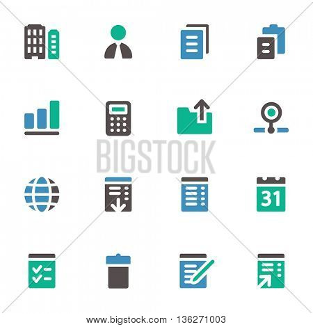 Office web icons set. Mobile screen symbols.