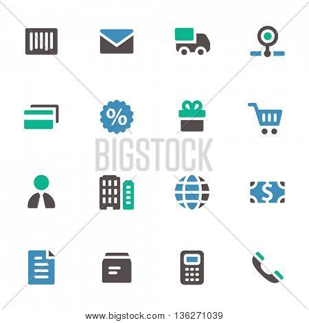 Shopping web icons set. Mobile screen symbols.