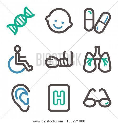 Medicine web icons. Hospital and health symbols.