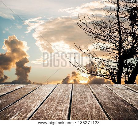 Wooden terrace with green rice field and blue sky in sunrise