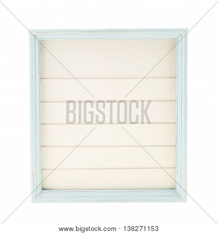 Light Blue Country Rustic Style Wood Frame With Canvas Layer Isolated On White Background
