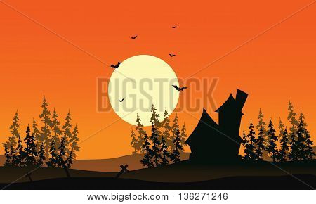 Scenery castle and spruce forest Halloween backgrounds at afternoon