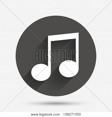 Music note sign icon. Musical symbol. Circle flat button with shadow. Vector