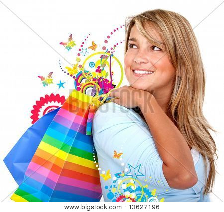 Casual woman shopping bags isolated over a white background