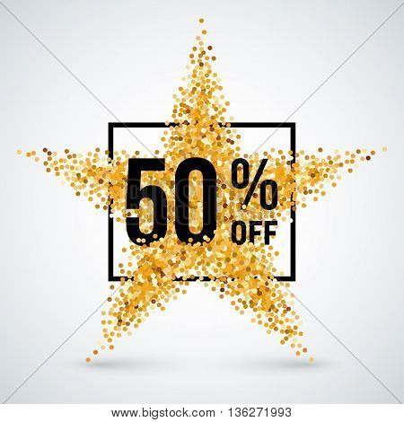 Golden Star and Frame with Discount Fifty Percent