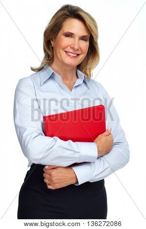 Senior business woman portrait isolated on white background.