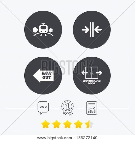 Train railway icon. Overground transport. Automatic door symbol. Way out arrow sign. Chat, award medal and report linear icons. Star vote ranking. Vector
