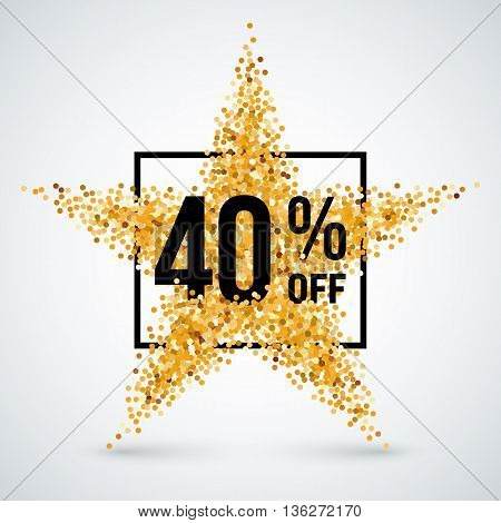 Golden Star and Frame with Discount Forty Percent