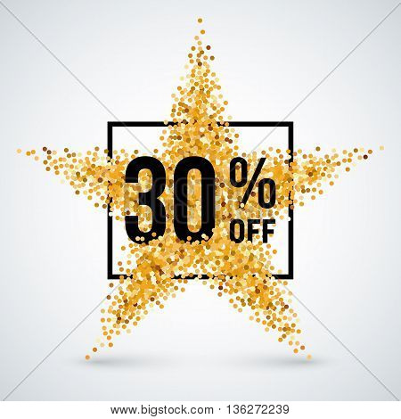 Golden Star and Frame with Discount Thirty Percent