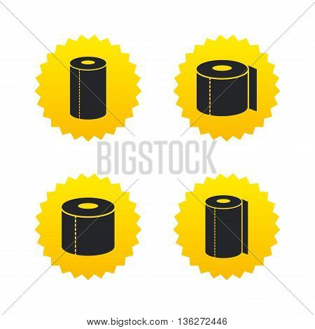 Toilet paper icons. Kitchen roll towel symbols. WC paper signs. Yellow stars labels with flat icons. Vector