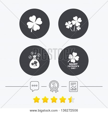 Saint Patrick day icons. Money bag with clovers and coins sign. Symbol of good luck. Chat, award medal and report linear icons. Star vote ranking. Vector