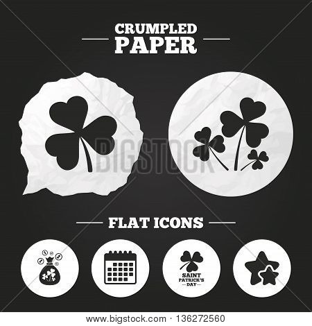 Crumpled paper speech bubble. Saint Patrick day icons. Money bag with clover and coins sign. Trefoil shamrock clover. Symbol of good luck. Paper button. Vector