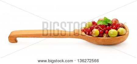 Gooseberries and red currants in wooden spoon isolated on white background. Healthy fruits and berries.