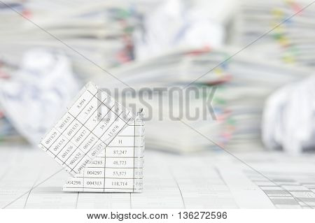 Close Up Bankruptcy House Have Blur Paper Ball As Background