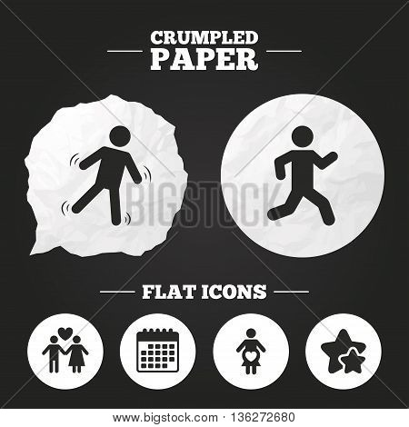 Crumpled paper speech bubble. Women pregnancy icon. Human running symbol. Man love Woman or Lovers sign. Paper button. Vector