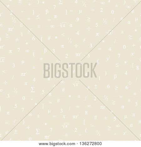 Vector seamless geometric beige background. Mathematical pattern of white numbers symbols and figures.