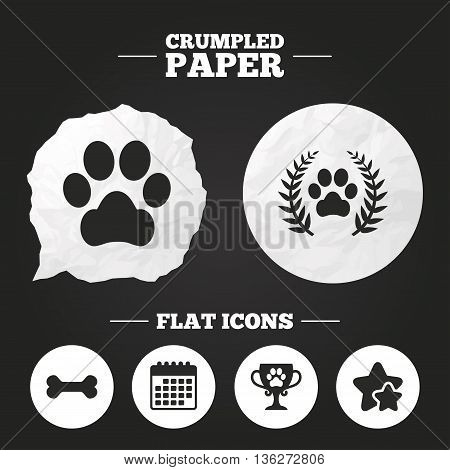 Crumpled paper speech bubble. Pets icons. Dog paw sign. Winner laurel wreath and cup symbol. Pets food. Paper button. Vector