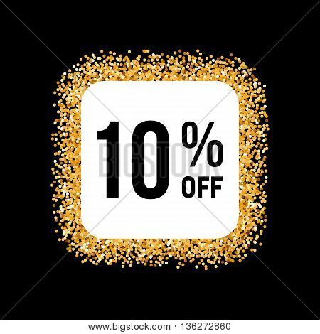 Golden Frame on Black Background with Discount Ten Percent