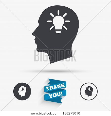Head with lamp bulb sign icon. Male human head idea symbol. Flat icons. Buttons with icons. Thank you ribbon. Vector