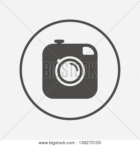 Hipster photo camera sign icon. Retro camera. Flat photo camera icon. Simple design photo camera symbol. Photo camera graphic element. Round button with flat photo camera icon. Vector