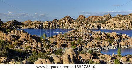View of Watson Lake in Prescott Arizona with the dam